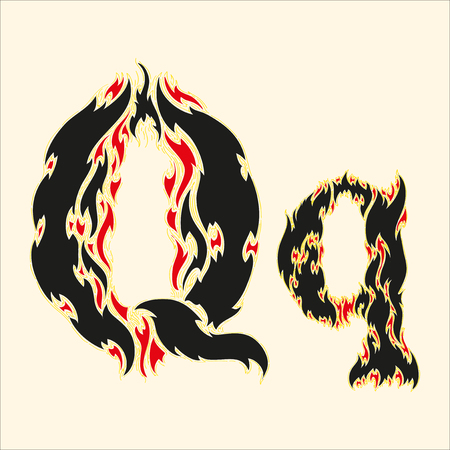 fiery font: Fiery font Letter Q Illustration on white background Illustration