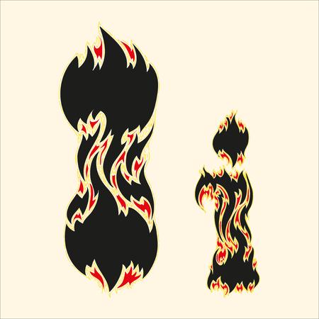 fiery font: Fiery font Letter I Illustration on white background