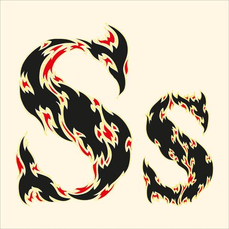 fire fires: Fiery font Letter S Illustration on white background