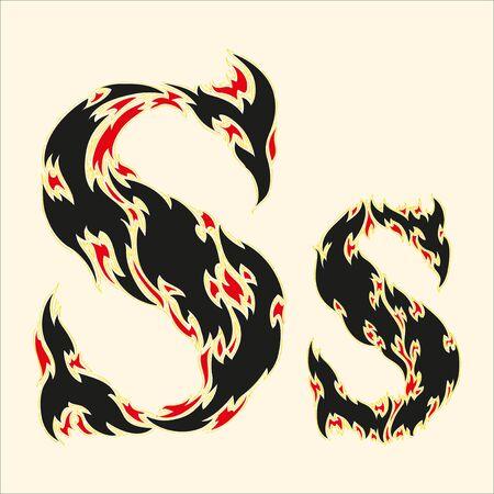 fire letter: Fiery font Letter S Illustration on white background