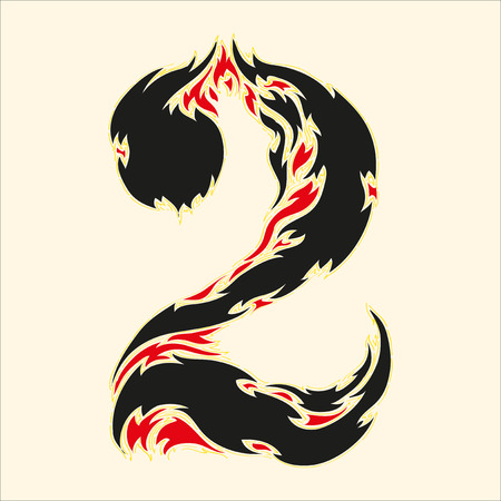 fiery font: Fiery font number 2 Illustration on white background