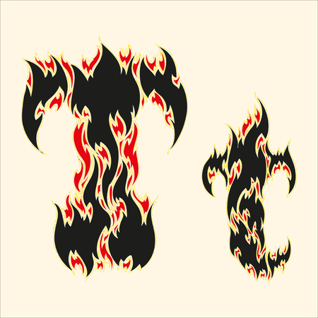 fiery font: Fiery font Letter T Illustration on white background
