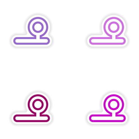 otolaryngologist: Set of paper stickers on white background instrument otolaryngologist