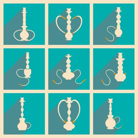 figura: Plano com sombra conceito e aplicação móvel hookah shisha