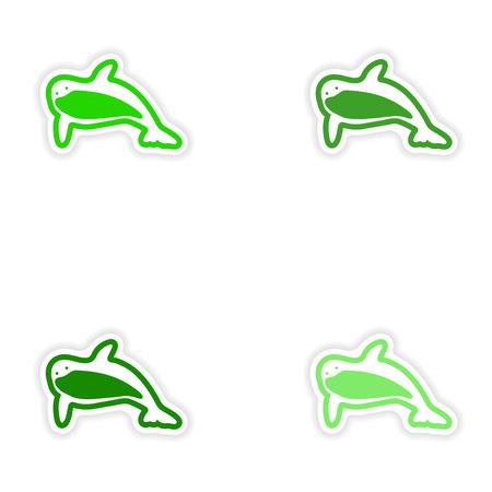 grampus: Set paper stickers on white background killer Illustration