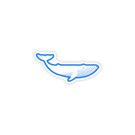 cachalot: paper sticker on white background blue whale