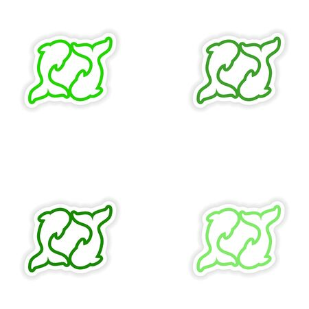 pair: Set paper stickers on white background pair of whales