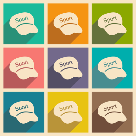 sports application: Flat with shadow concept and mobile application Sports headwear