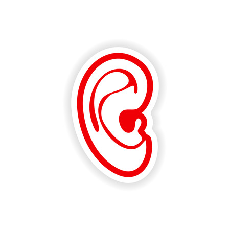 the human ear: paper sticker on white background human ear