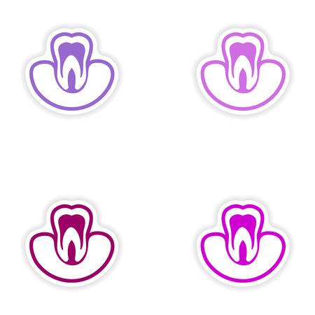 gums: Set of paper stickers on white background tooth in gums Illustration