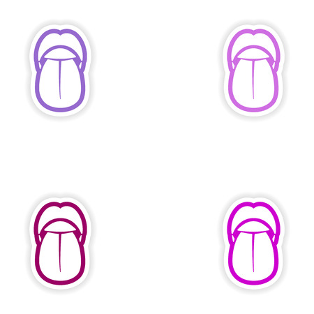 uvula: Set of paper stickers on white background mouth and tongue