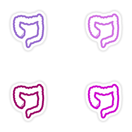 oesophagus: Set of paper stickers on white background Duodenum human Illustration