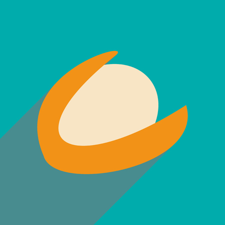 hazel: Flat with shadow icon and mobile application hazelnut Illustration
