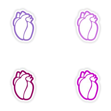 ventricle: Set of paper stickers on white background human heart
