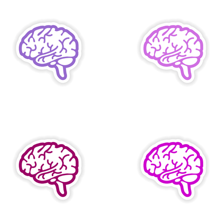 head wise: Set of paper stickers on white background human brain Illustration