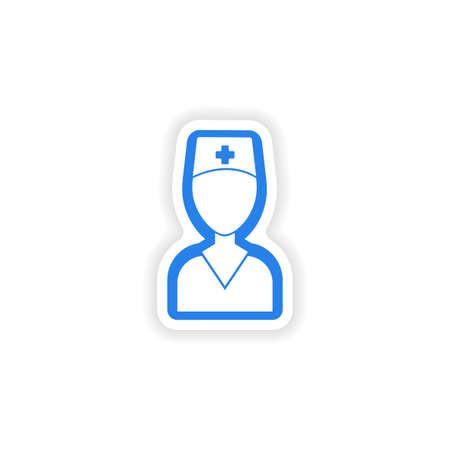 medical worker: paper sticker on white background medical worker Illustration