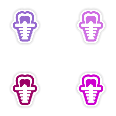 implantation: Set of paper stickers on white background false tooth