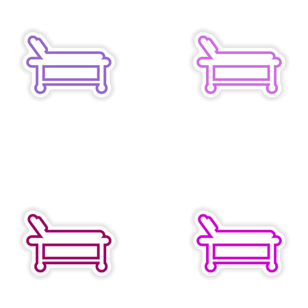 surgery stretcher: Set of paper stickers on white background hospital stretcher