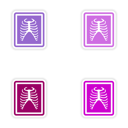 medical scanner: Set paper stickers on white background X-rays of ribs Illustration