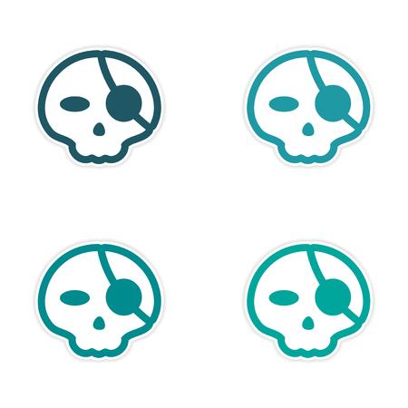eye patch: assembly sticker stylish skull with eye patch on white background Illustration