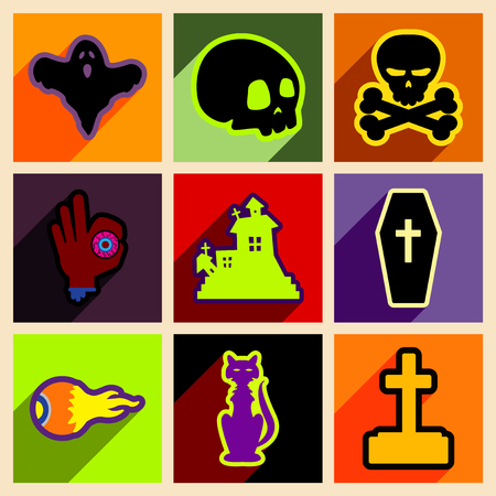 monsters house: Flat with shadow concept and mobile application halloween icons
