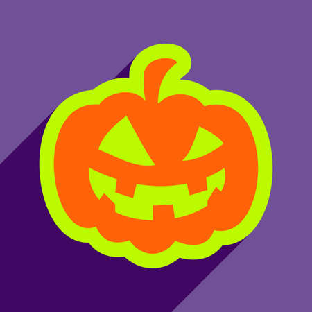 carving: Flat with shadow icon and mobile application pumpkin