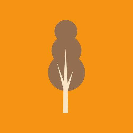 mobile application: Flat with shadow icon and mobile application tree deciduous