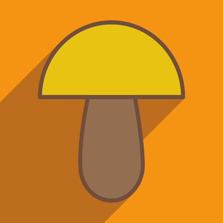 mycology: Flat with shadow icon and mobile application porcini Illustration