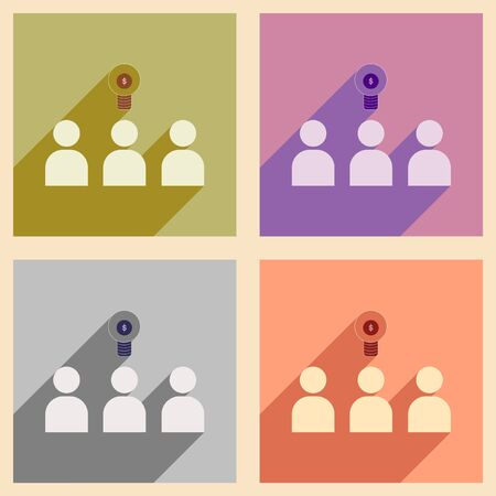 teammates: Flat with shadow concept icon group of people think