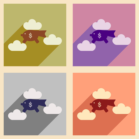 pig with wings: Flat with shadow icon concept piggy bank clouds