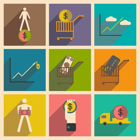 paper wad: Modern collection flat icons with shadow economics and finance