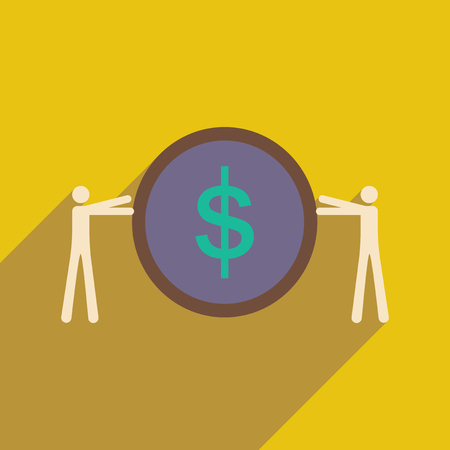 variation: Modern flat icon with shadow coin and people