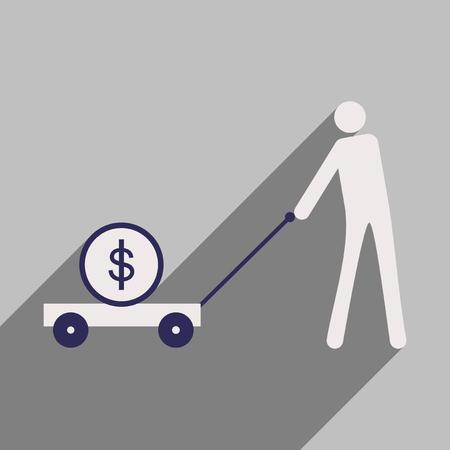 pig iron: Flat design modern vector illustration icon Stick Figure economy