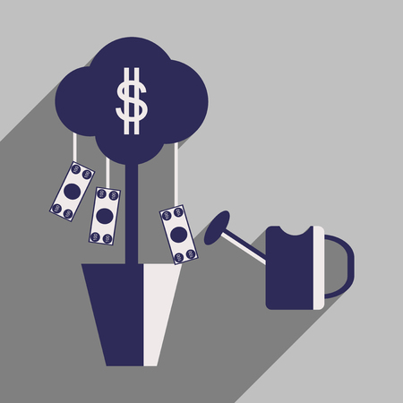 Flat design modern vector illustration icon Money Tree and Sprinkle Illustration