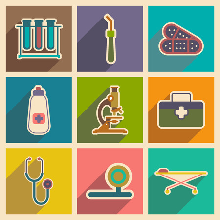 medical instruments: Icons of medical instruments and medicament in flat style