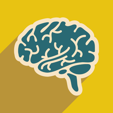 cranial: Icon of human brain in flat style Illustration
