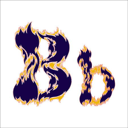 fiery font: fiery font blue letter B on a white background