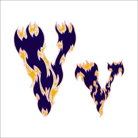 fiery font: fiery font blue letter V on a white background Illustration