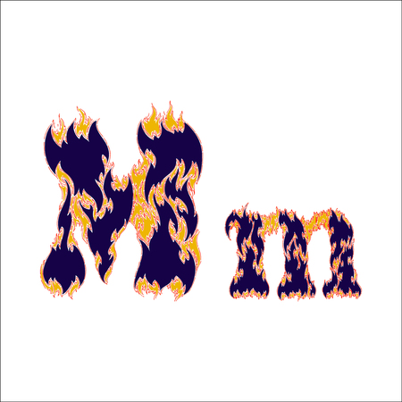 fiery: fiery font blue letter M on a white background