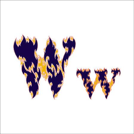 fiery font: fiery font blue letter W on a white background