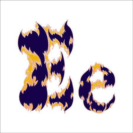 butane: fiery font blue letter E on a white background Illustration