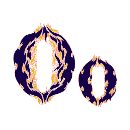 fiery font: fiery font blue letter O on a white background