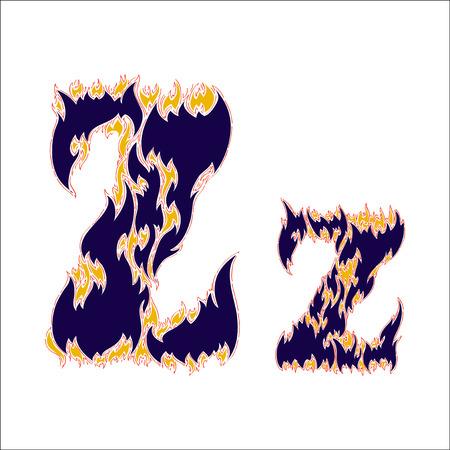 fiery font: fiery font blue letter Z on a white background