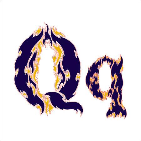 fiery font: fiery font blue letter Q on a white background