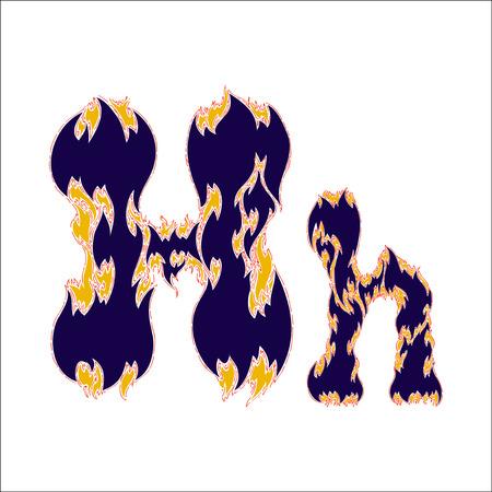 fiery font: fiery font blue letter H on a white background Illustration