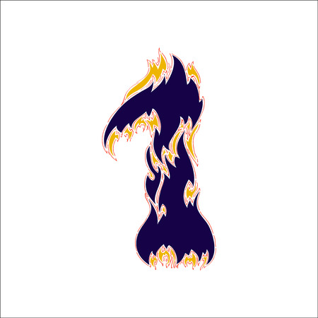 fiery font: fiery font blue number 1 on a white background