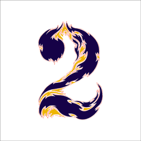 fiery: fiery font blue number 2 on a white background Illustration