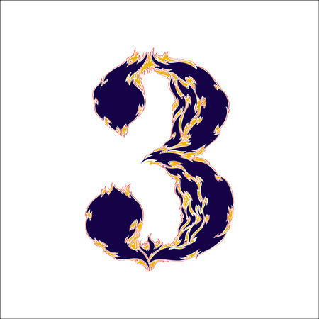 fiery font: fiery font blue number 3 on a white background Illustration