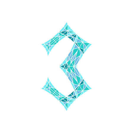 numbers background: Low poly number 3 in blue mosaic polygon