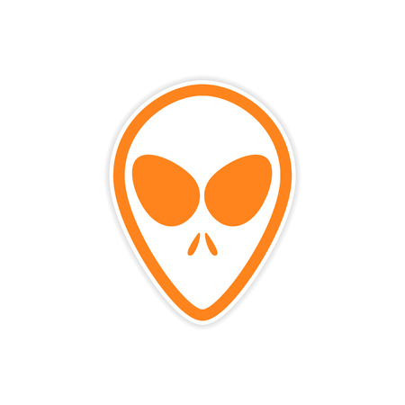 abduct: Sticker alien with big eyes on a white background Illustration
